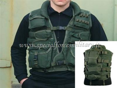 TACTICAL VEST GREEN CON PELLE