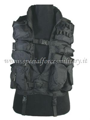 TACTICAL VEST BLACK CON PELLE